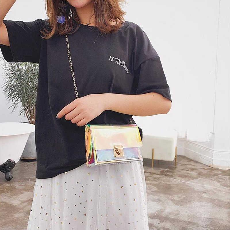 ใหม่เลเซอร์โปร่งใสกระเป๋าแฟชั่นผู้หญิงสไตล์เกาหลีกระเป๋าสะพาย Messenger กระเป๋า PVC กันน้ำกระเป๋าชายหาดคุณภาพสูงหญิงกระเป๋า