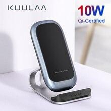 KUULAA Qi kablosuz şarj 10W iPhone X XS 8 XR Samsung S9 Xiaomi hızlı kablosuz şarj Dock İstasyonu için telefon tutucu şarj cihazı
