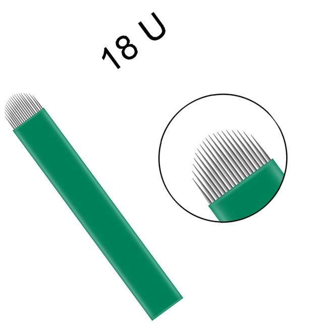100 pièces aiguille de tatouage Nano noir 0.16mm Flex 12U 14U 16U 18U aiguilles Microblading pour broderie Lamina maquillage Permanent sourcil