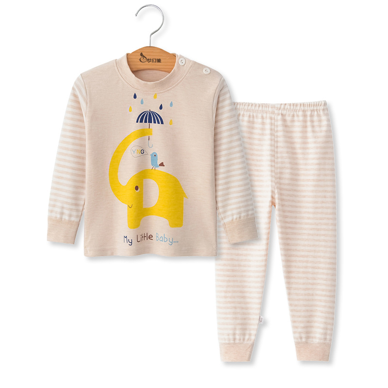 SAILEROAD Children Cartoon Animals Pajamas Set Baby Boys Cute Elephant Pyjamas Girls Love Heart Pijama Kids Home Wear Cotton PJS 1