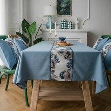 3C Multi-Purpose Waterproof Table Cloth Pastoral Faux Cotton Linen Table Cloth Retro Stone Flowers Fabric Towel Cover Place mat