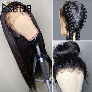 360 koronkowe peruki ludzkie włosy wstępnie oskubane proste włosy ludzkie koronki przodu peruka brazylijski Remy koronki przodu peruki z ludzkich włosów 150% gęstości
