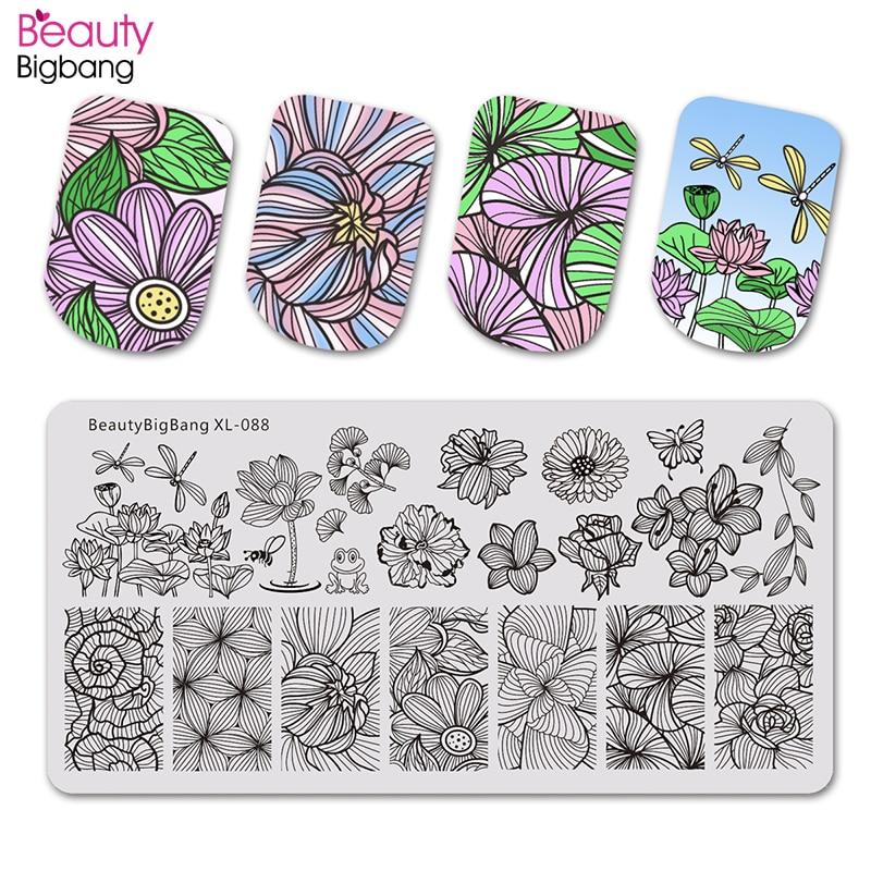 Beautybigbang Nail Stamping Plates Nail Art Flower Dragonfly Lotus Image Nails Swanky Stamping Print Template Plate Mold XL-088