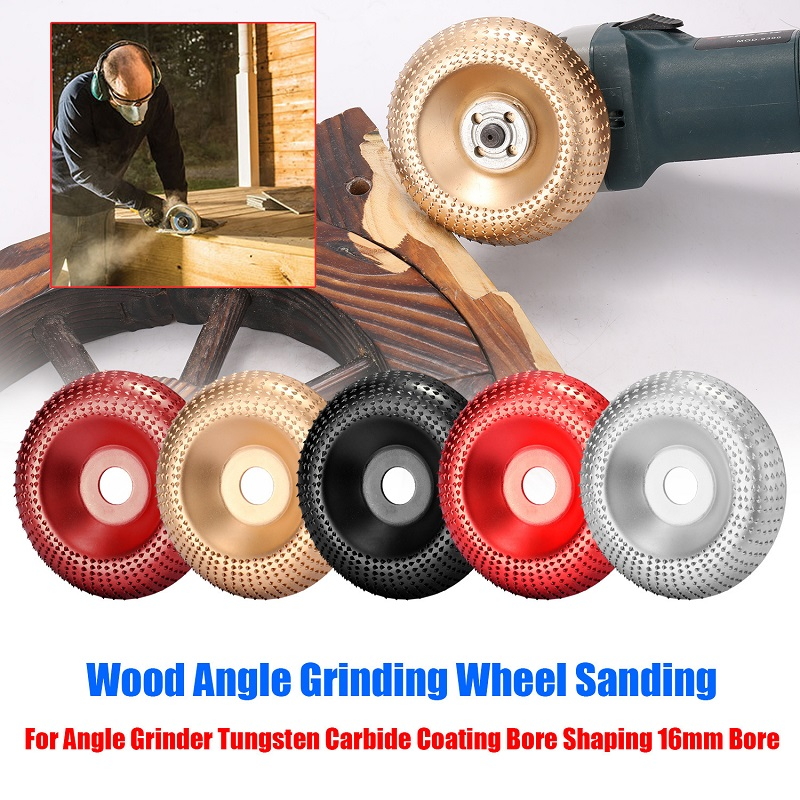 Round Wood Angle Grinding Wheel Abrasive Disc Angle Grinder Tungsten Carbide Coating Bore Shaping Sanding Carving Rotary Tool