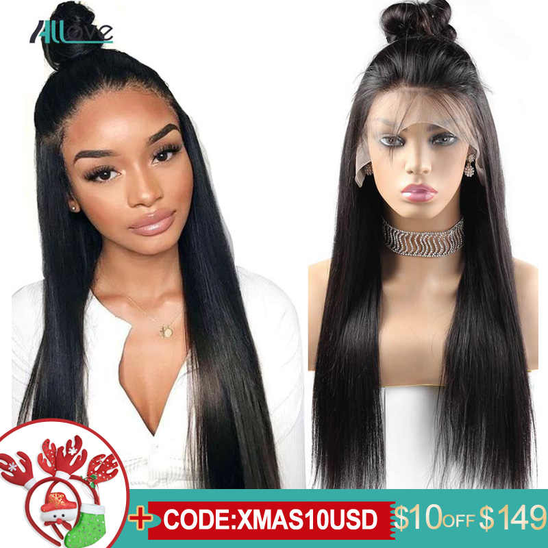 Allove Straight Lace Front Human Hair Wigs Remy 360 Lace Frontal Wig 13X4 13X6 Brazilian Straight Lace Front Wig 250 Density