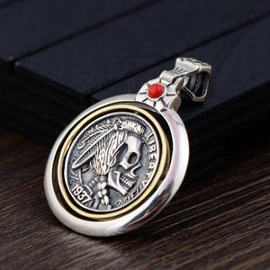 Image 3 - Pendentifs de crâne en argent Sterling 925 pour hommes, Vintage, Style Punk, tête indienne gravée, Onyx naturel, pierre rouge