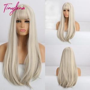 Image 5 - 小さなlanaロングオンブル茶色ブロンドかつら前髪コスプレ人工黒人女性ストレート自然なパーティー偽の髪かつら