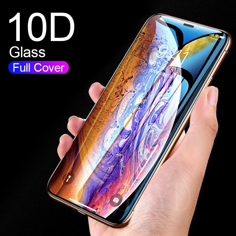 10D Curved Edge Protective Tempered Glass For IPhone 7 8 6 6S Plus X XR XS 11 Pro Max Full Cover Membrane Screen Protector Film