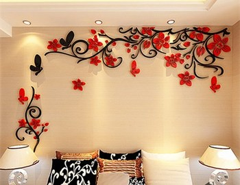 DIY Removable Vinyl Flower Wall Sticker Modern Decals For Wall Decor TV Background Decoration Mural Wallpaper For Living Room 22