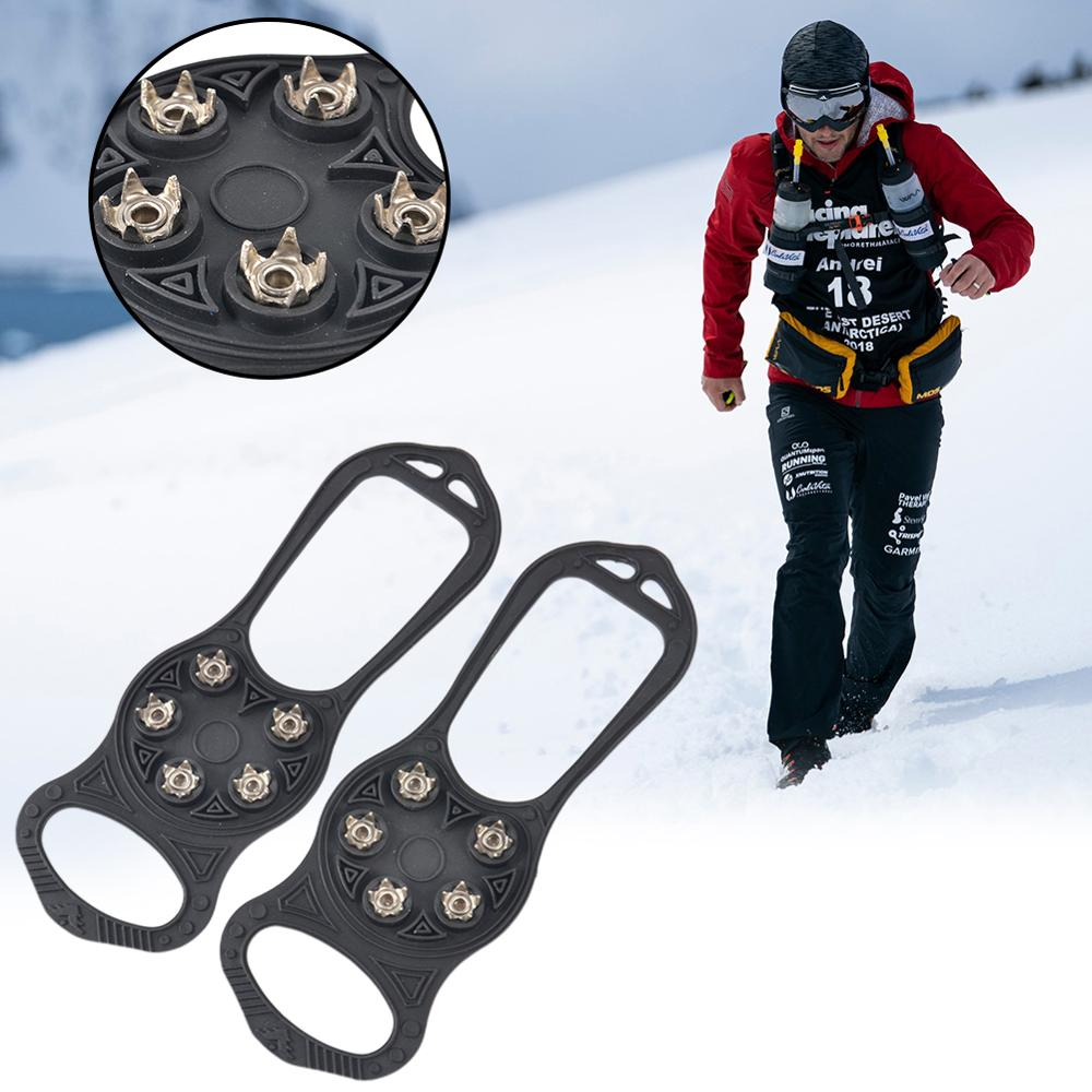 1 Pair Non Slip Ice Gripper 5 Teeth Studs Safe Hiking Skiing Climbing Crampons Universal Outdoor Snow Walking Shoe Spikes Grips