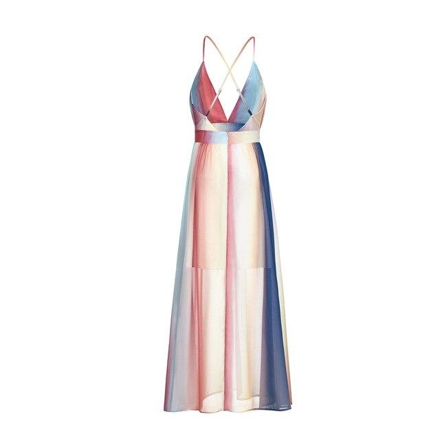 Fashion Summer Maxi Dress Casual Sleevesless Vestidos Female High Waist Robe Femme Women Striped Chiffon Sundress  KZ127 5