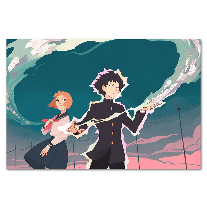 anime mob psycho 100 print poster japanese tv wall art cartoon picture canvas painting posters for home bedroom wall decoration