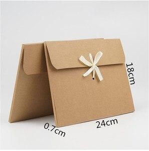 Image 5 - 10pcs White Kraft Paper Cardboard Envelope Bag Scarf Packaging Box Photo Postcard Envelope Gift Box With Ribbon