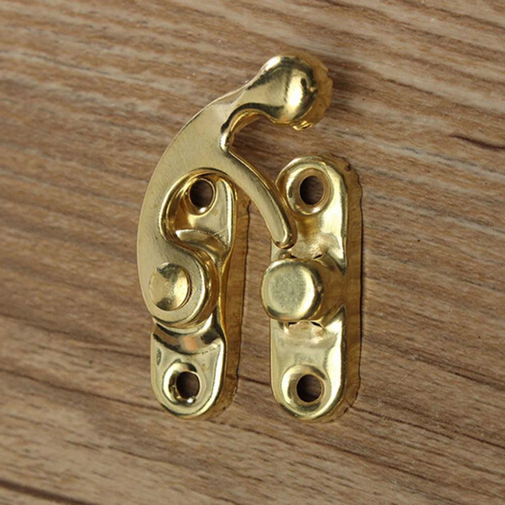 5 個スモールアンティーク金属ロック装飾ハスプフックギフト木製ジュエリーボックス南京錠ネジ家具ハードウェア