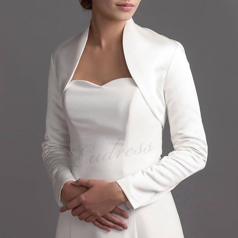 White Long Sleeve Short Shawl Women's Shawl Wraps Jacket Shrug Satin Evening Wedding Cape Bolero Cover Up