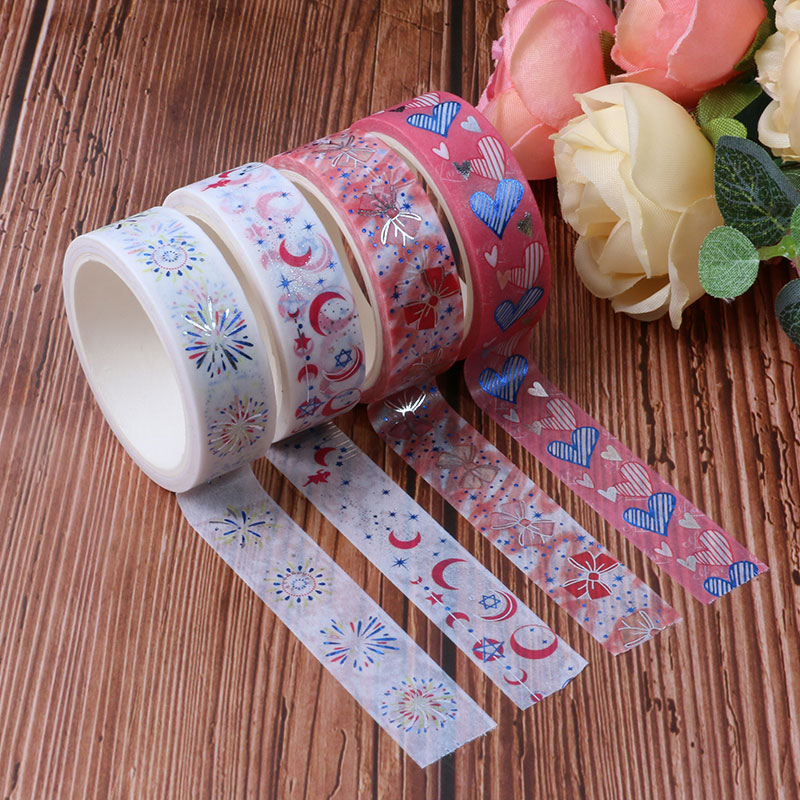 NEW Silver Foil Paper Heart, Moon, Stars Masking Tape Decorative Adhesive Washi Tape Scrapbooking For DIY Creative Stationery
