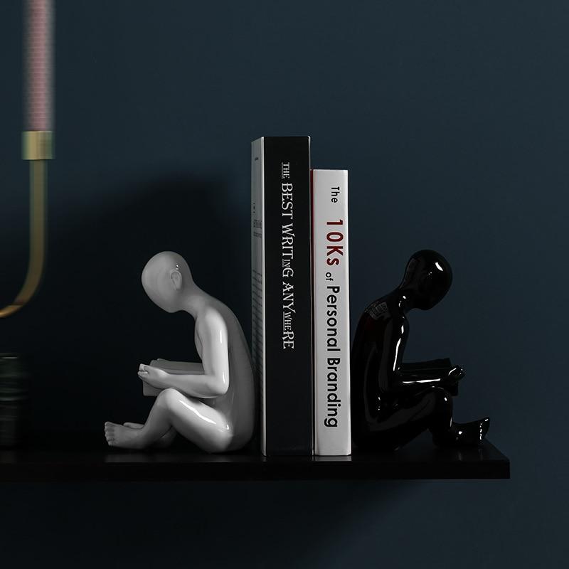 Ceramic Creative Bookend Desk Decoration Book Stand Model Miniature Ornaments Creative Handicrafts Household Decor