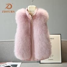 ZDFURS* Natural Real Fox Fur Vest Stylish Winter Short Thick Women Jacket down Coats Slim Solid