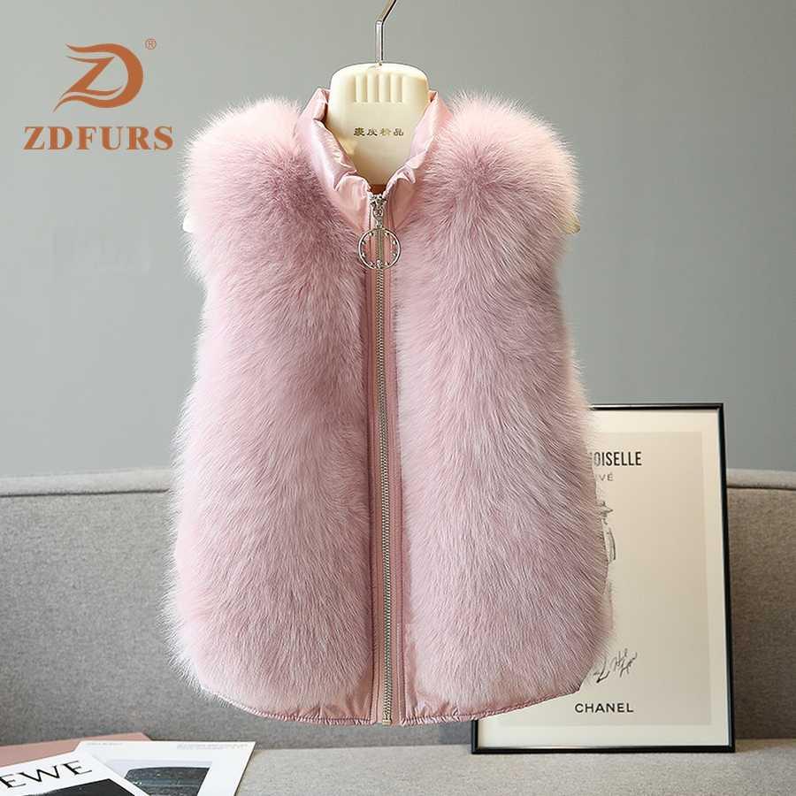 ZDFURS * doğal gerçek tilki kürk yelek şık kış kısa kalın kadın kürk yelek ceket aşağı gerçek kürk yelek palto ince düz