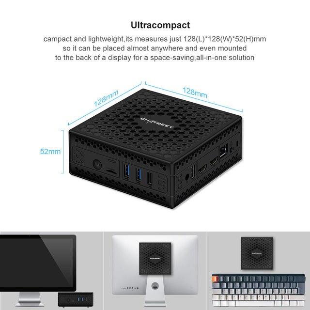Chatreey AC1-Z Mini PC Fanless  intel Quad core J3455 J4125 dual HDMI windows 10  computer