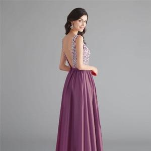 Image 5 - Schönheit Emily Satin Dark Rosa Brautjungfer Kleider 2020 V ausschnitt Schwere Perlen A line Hochzeit Party Kleid Formale Kleid Robe De soiree