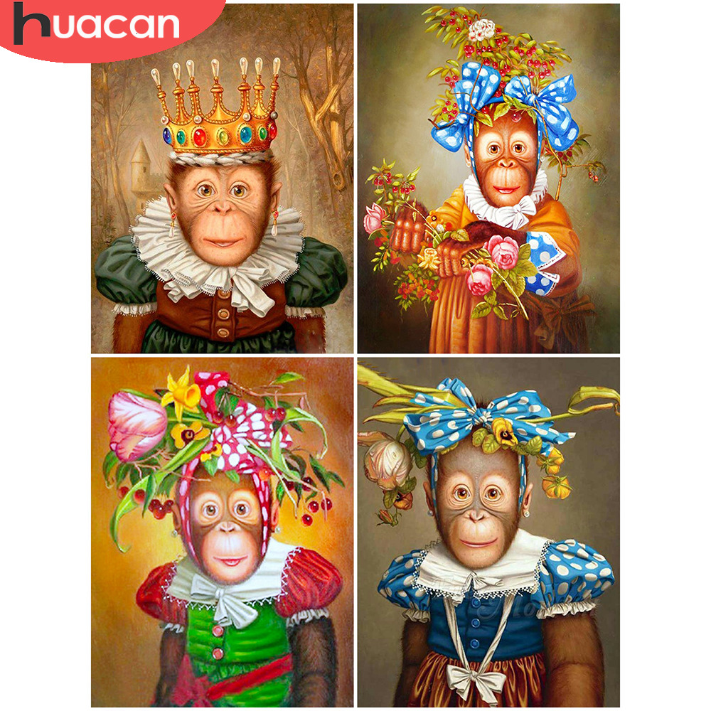 HUACAN Full Drill Square Diamond Painting Monkey Cross Stitch Animal Embroidery Fall Decorations For Home Handmade
