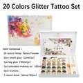Nouveau haute qualité 20 couleurs paillettes ensemble de tatouage poudre pour Body Art temporaire tatouage pinceaux colle pochoirs livraison gratuite