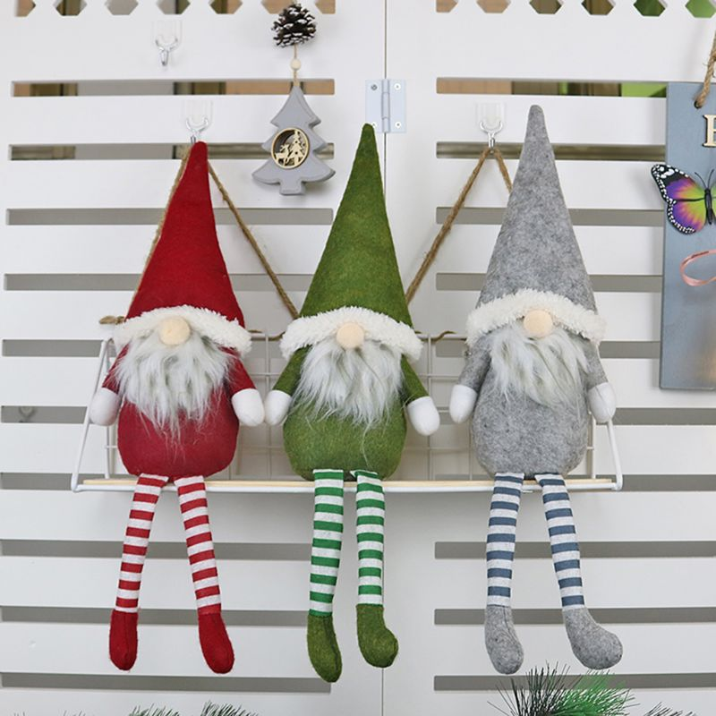Merry Christmas Long Legged Swedish Santa Gnome Plush Ornament Doll Handmade Toy