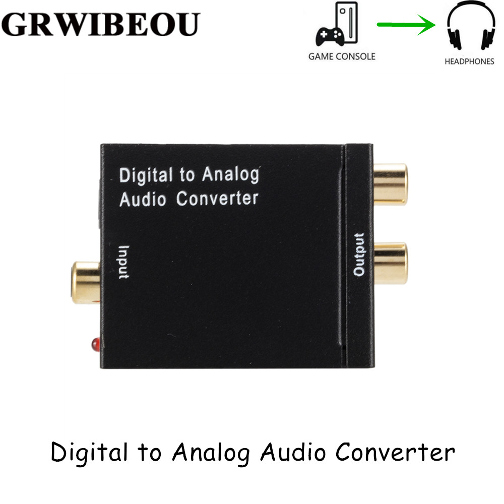 Grwibeou DAC Digital To Analog Audio Converter 2*RCA Amplifier Decoder Optical Fiber Coaxial Digital To Analog DAC Amplifier