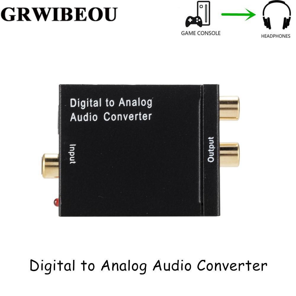 Grwibeou DAC Digital To Analog Audio Converter 2*RCA Amplifier Decoder Optical Fiber Coaxial Digital To Analog DAC Amplifier