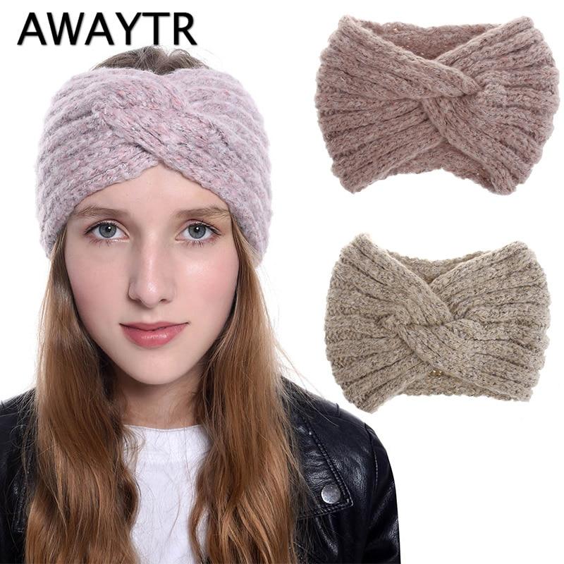 AWAYTR Fashion Soft Wool Cross Knot Headband For Women Turban Warm Autumn Winter Knit  Hairband Ladies Hair Accessories