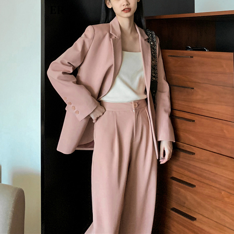 Drop Shipping Solid Women Blazer Suits Long Sleeve Single Breasted Blazer Pants Suit Office Ladies Two-piece Blazer Sets 2020