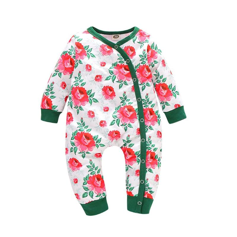 Комбинезоны для малышей; хлопковый комбинезон с круглым воротником и длинными рукавами с рисунком животных; пляжный костюм для мальчиков и девочек; домашняя одежда для отдыха - Цвет: Flower