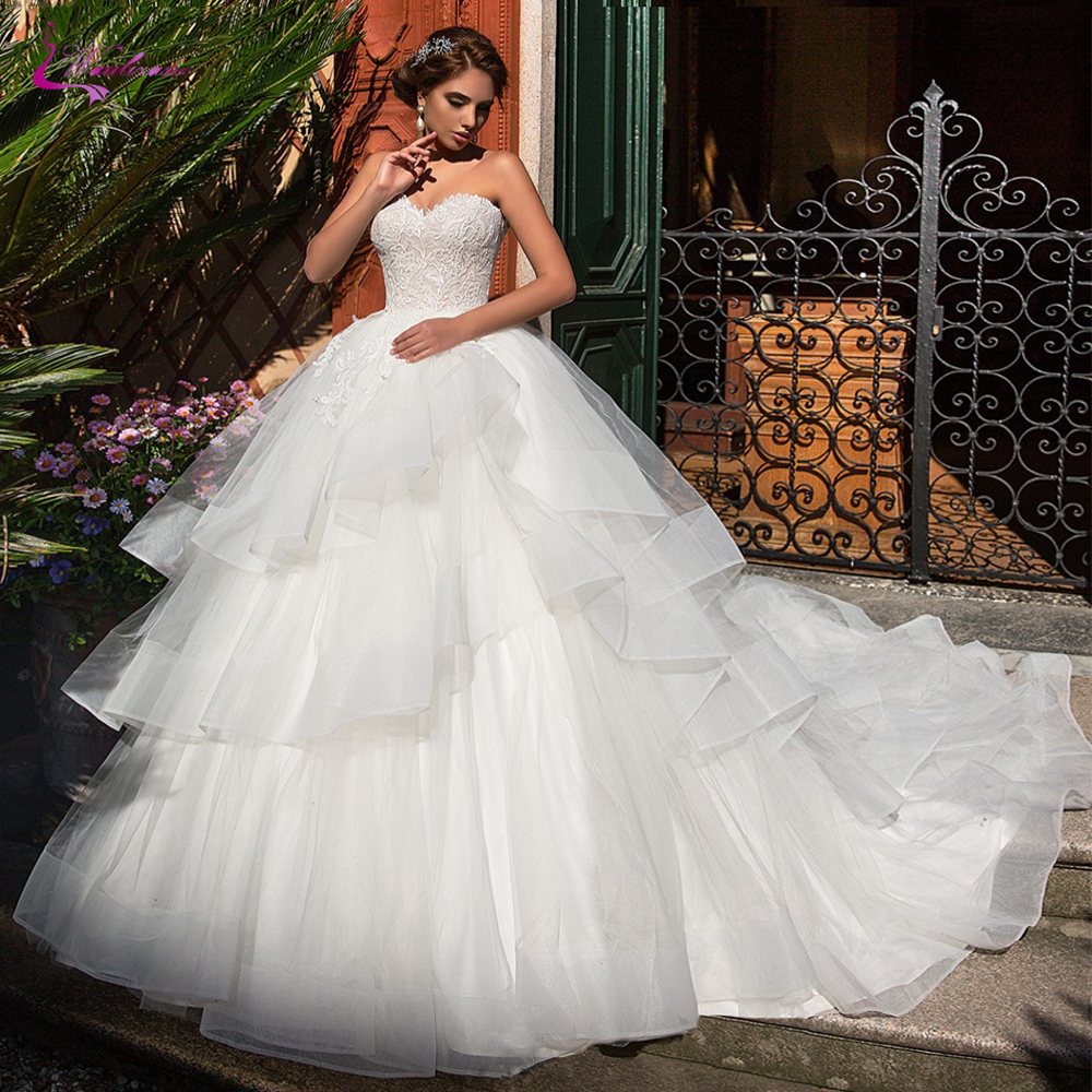 Waulizane Strapless Ball Gown Wedding Dress Ruffle Puffy Skirt Of Lace Up Back Bridal Dress