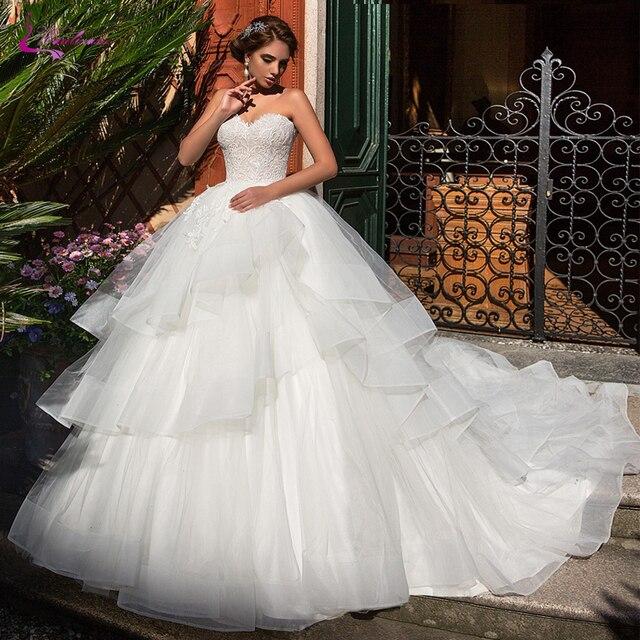 Waulizane strapless 볼 가운 웨딩 드레스 프릴 푹신한 치마 레이스 위로 신부 드레스