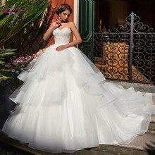Waulizane 夜会服のウェディングドレスのフリルパフィースカートレースアップバックブライダルドレス