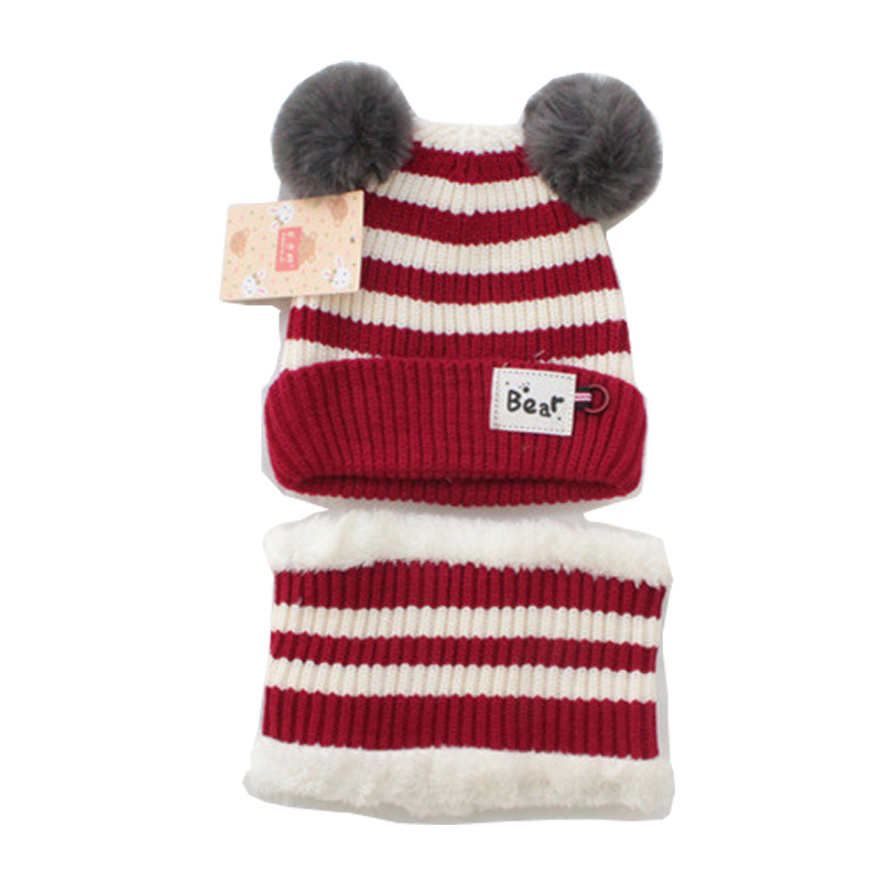 2019 Baby Wool Knitted Thickened  Ball Hat Scarf Set  Autumn And Winter Kid Cartoon Stripe Splice Cute Warm Fashion
