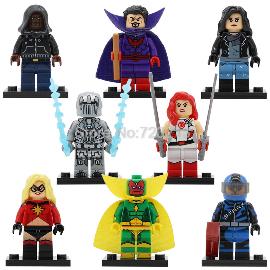 Single Sale Super Hero Figure Racing Luke Cage Iron Man Vision Whiplash Jones Model Building Blocks Brick Toys Legoing
