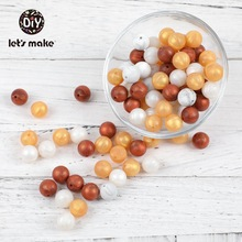 Let's make Silicone Teether Beads DIY Accessories Perle Pearl Gold 40pc 15mm Wholesale Teething Toys