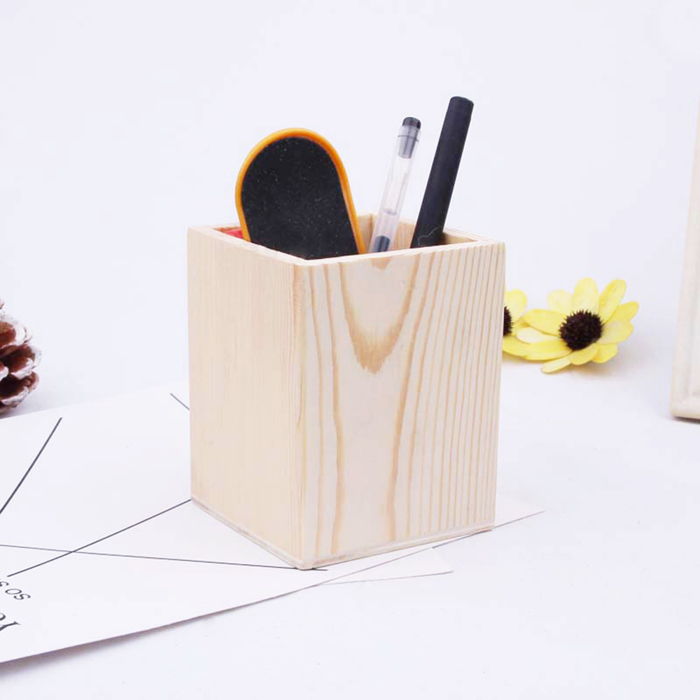 3 Styling Multifunctional Wooden Office Organizer Fashion Lovely Design Pencil Holders Desk Office Accessories Pen Holder