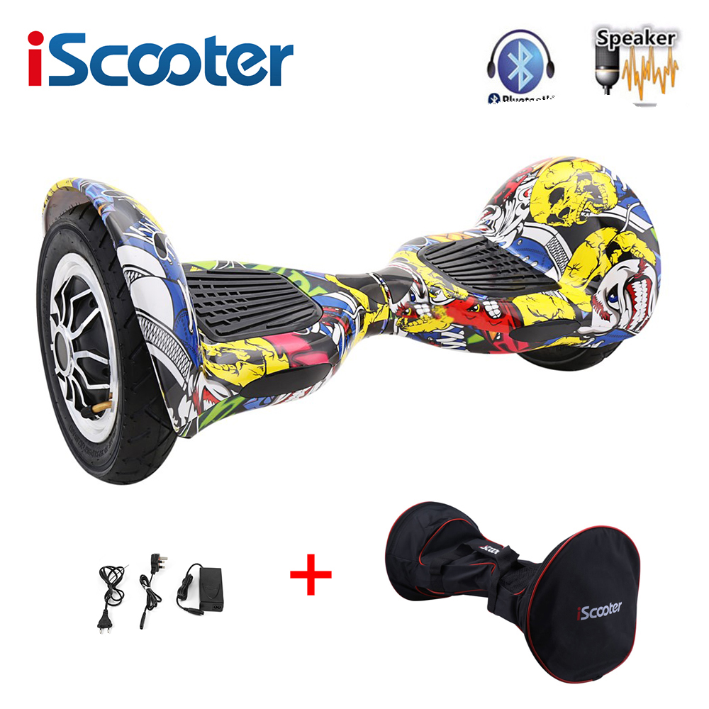 IScooter Hoverboard 10 Inch Bluetooth 2 Wheel Self Balancing Electric Scooter Two Wheel 10'' With App Control LED Skateboard