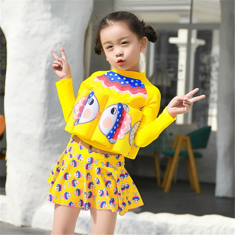 Fashion Korean-style Children Sun-resistant Bathing Suit Women's Split Type Girls Cartoon Princess Small CHILDREN'S Baby GIRL'S