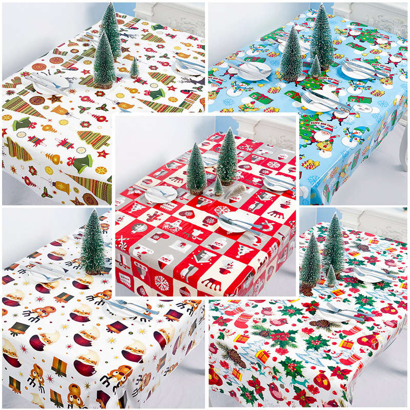 PATIMATE Christmas Table Flag Santa Claus Deer Tablecloth Merry Christmas Decoration For Home Xmas Ornaments 2020 New Year Gifts in Pendant Drop Ornaments from Home Garden