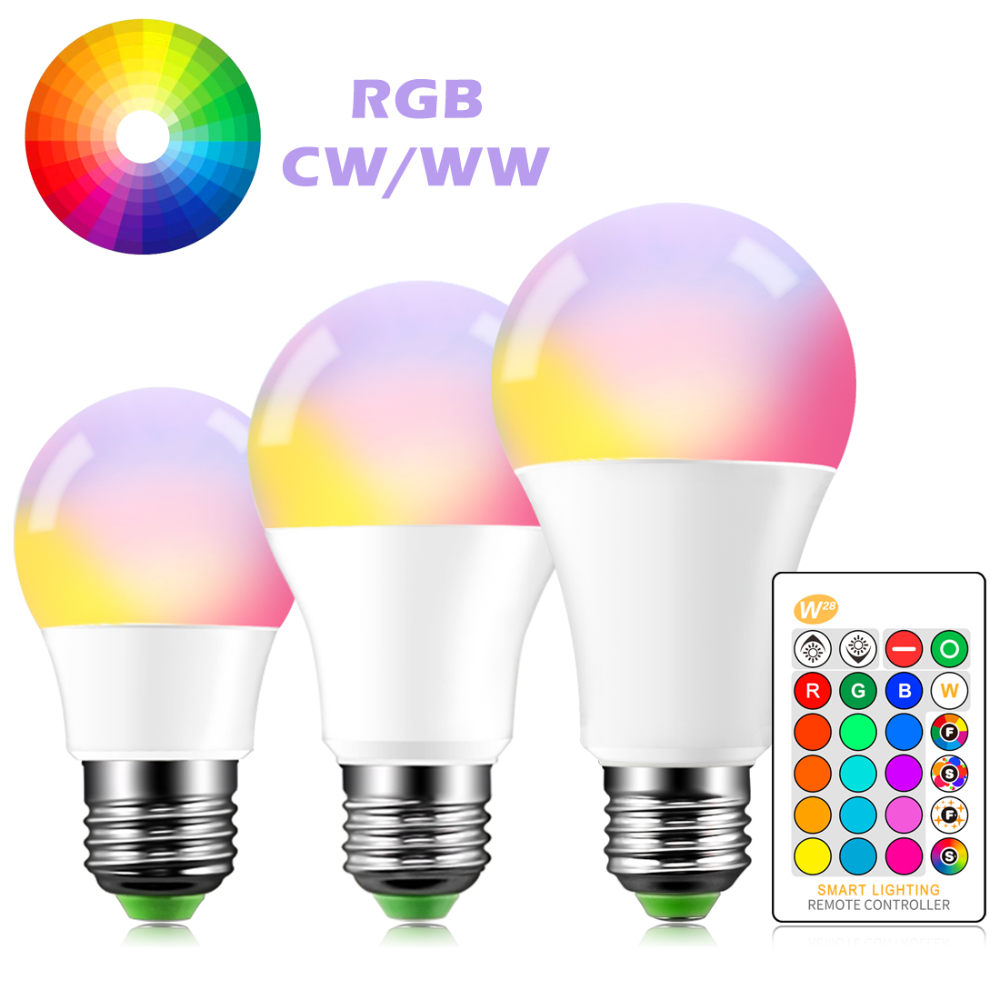 B22 E27 LED Bulb 5W 10W 15W 16 Color Changing RGB Magic Light Lamp 85-265V 120V 220V RGB Led Light Spotlight + IR Remote Contro