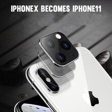 2 uds lente de cámara de vidrio templado funda de aleación de titanio para iPhone X XS máximo segundo cambio para iPhone 11 Pro MAX 2019