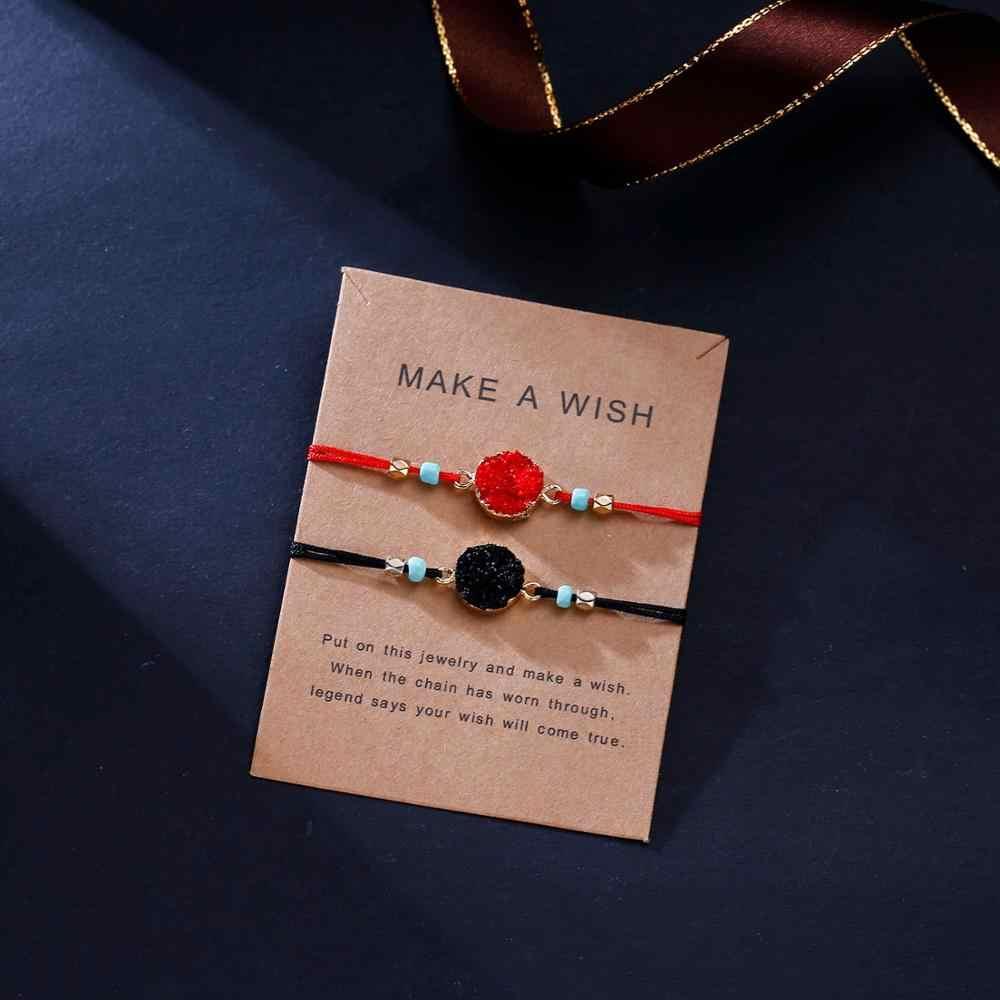 Rinhoo 2 sztuk proste serce korona wzór geometryczny bransoletka muszla kolorowy kamień naturalny wisiorek bransoletka dla kobiet mężczyzn biżuteria