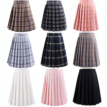 Harajuku Black Skirts Womens 2020 Summer High Waist Anime Skirts Kawaii School Uniform Short Mini White Pink Plaid Pleated Skirt