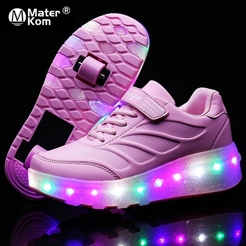 Детские кроссовки-ролики со светодиодной подсветкой, размеры 28-43