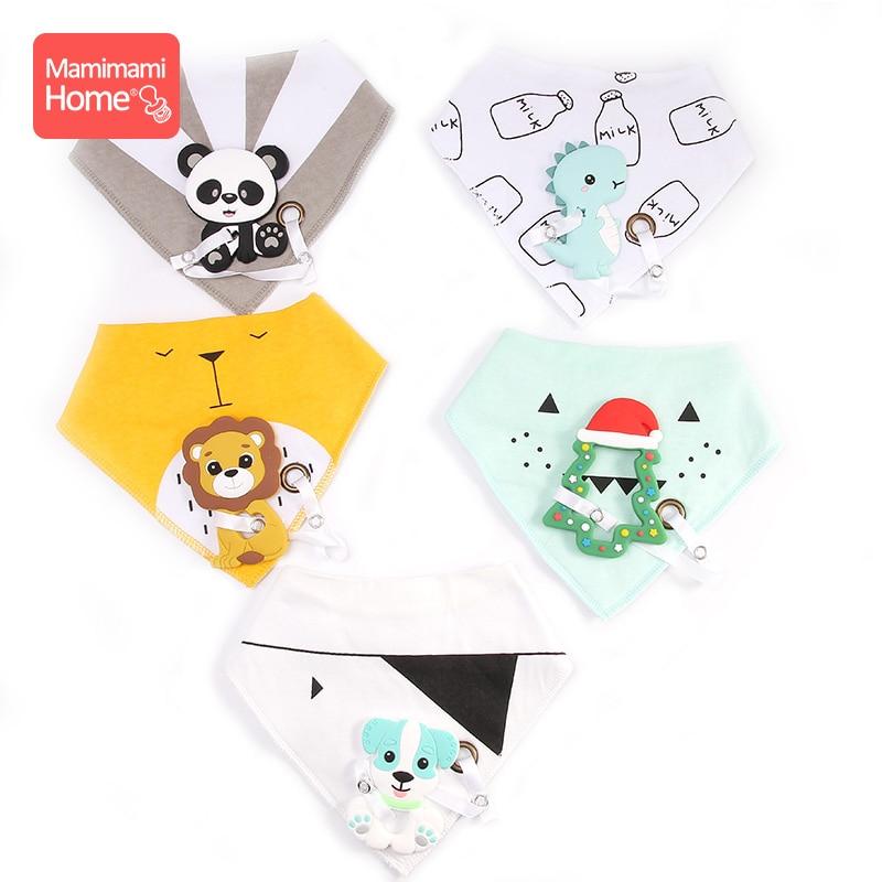 Mamihome Baby Bandana Bibs Burp Cloths Silicone Rodent Panda Pendant Cotton Drool Bib Newborn Absorbent Cloth Children'S Goods
