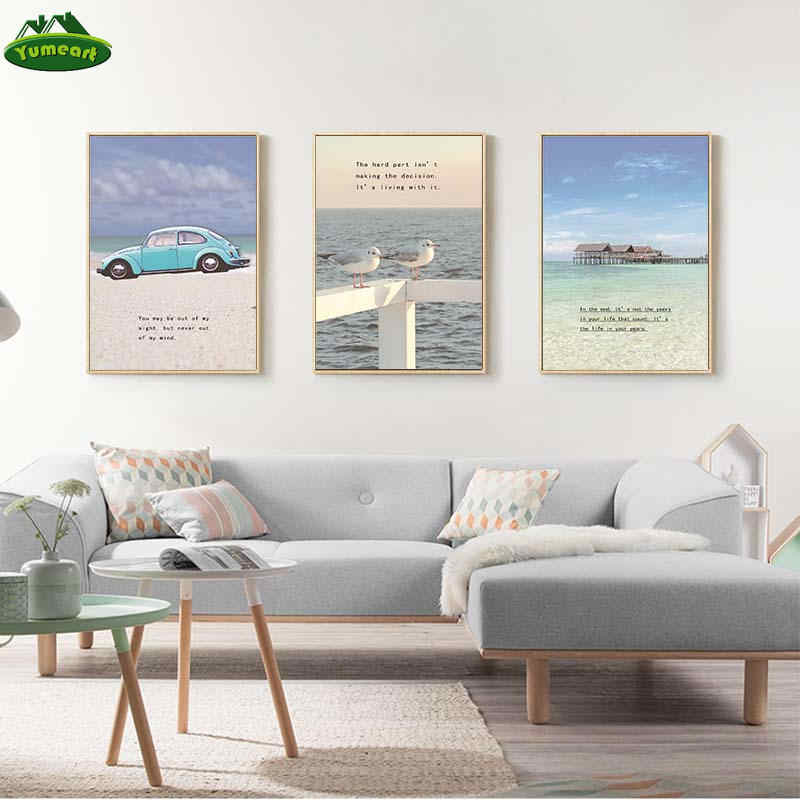 Blue Sky Ocean Travel Posters Canvas Prints Paintings HD Mediterranean Landscape Wall Art Pictures for Living Room Home Decor